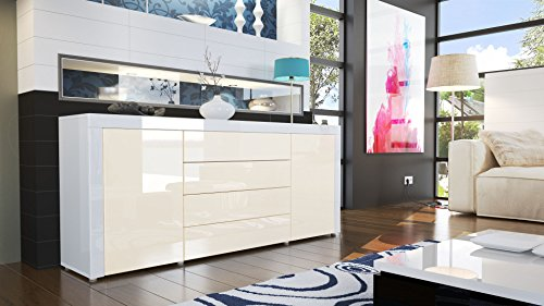 sideboard kommode la paz korpus in wei hochglanz front in creme hochglanz mit rahmen in wei. Black Bedroom Furniture Sets. Home Design Ideas
