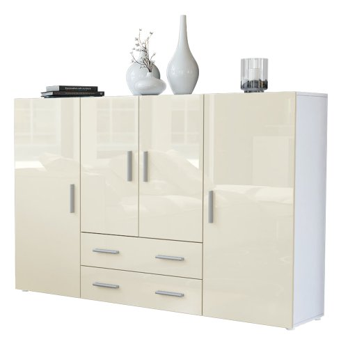 Highboard Sideboard Nora, Korpus in Weiß matt / Front in Creme Hochglanz