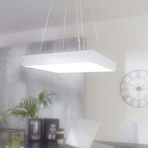 FineBuy LED-Büroleuchte SQUAR Arbeitspendelleuchte 64W silber 5440 Lumen | Pendelleuchte EEK A+ | Design Arbeitsplatz Hängelampe kaltweiß | Office Leuchte 6500 Kelvin