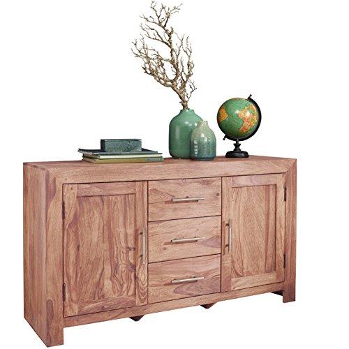 WOHNLING Sideboard Massivholz Akazie Kommode 118 cm mit 3 Schubladen und 2 Türen Design Highboard Landhaus-Stil braun Echt-Holz Schubladenkommode Natur-Produkt Flur-Möbel Aufbewahrung Dielen-Möbel