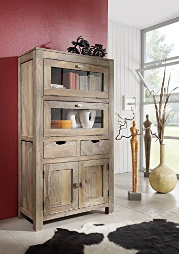 Sheesham massiv Holz Highboard Palisander Möbel Massivmöbel Nature Grey #60