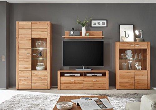 Wohnzimmerschrank, Wohnwand, Schrankwand, Anbauwand, Fernsehwand, Wohnzimmerschrankwand, Wohnschrank, Kernbuche, teilmassiv, LED-Beleuchtung
