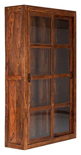 massivum Vitrine Cubus 120x200x39 cm Palisander braun gewachst