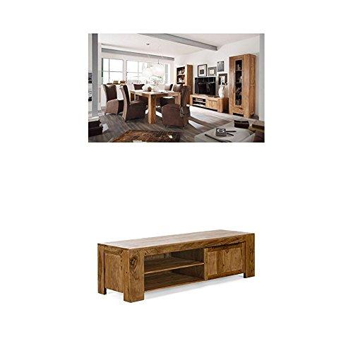 Massivum Stark Wohnwand, Holz, braun, 35 x 103 x 190 cm + TV-Schrank Stark 167x48x50 cm Palisander braun gewachst
