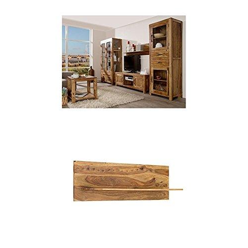 Massivum Palison Wohnwand, Holz, natur, 42 x 100 x 175 cm + Regal Palison 130x35x25 cm Palisander natur lackiert