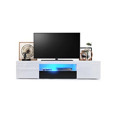 TV Board Lowboard Santiago, Korpus in Weiß Hochglanz / Fronten in Weiß Hochglanz und Schwarz Hochglanz inkl. LED Beleuchtung
