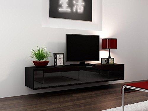 TV Board Lowboard Migo Hängeschrank Wohnwand 180cm (Schwarz Matt /Schwarz Hochglanz)