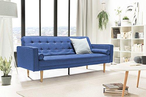 SalesFever® Designer Schlafsofa, Couch mit Schlaffunktion, Stoff Blau, Holz Eiche, FSC® 100% zertifiziert
