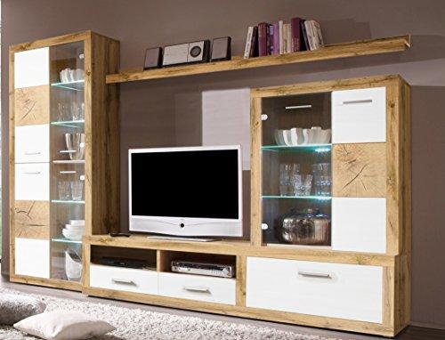 Stella Trading Wohnwand Woods 89-225-H2 4tlg. , Holzdekor, Wildeiche, 285 x 195 x 45 cm