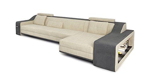 Sofa Couch Stoff Wohnlandschaft modern Design Ecksofa L-Form mit LED-Licht Beleuchtung BERLIN III