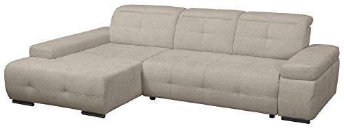 Cavadore Polsterecke Mistrel mit Longchair XL links / Eck-Couch mit verstellbaren Kopfteilen / Kopfteilverstellung / Wellenunterfederung / Maße:  273 x 77-93 x 173 cm (B x H x T) / Farbe: Grau/Weiß
