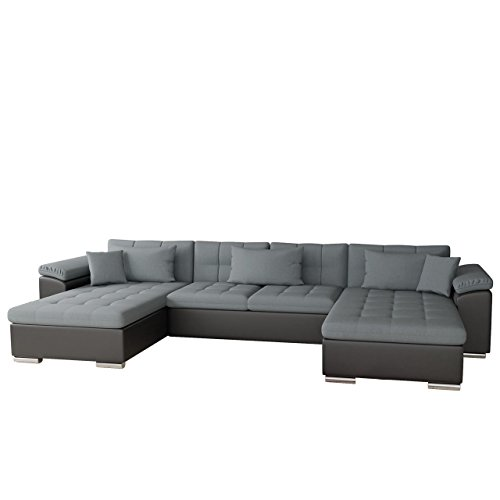 Mirjan24  Ecksofa Wicenza Bris! Elegante Big Sofa mit Schlaffunktion Bettfunktion! Technologie Cleanaboo®, Schwerentflammbar, Wohnlandschaft! U-Form, Eckcouch Couch! (Soft 011 + Bristol 2446)