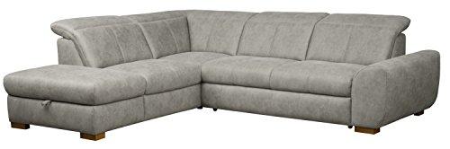CAVADORE Ecksofa Bules mit Ottomane links/Großes Sofa im modernen Design/274 x 81 x 232 cm (BxHxT)/Kunstleder hellgrau