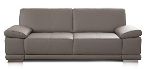 CAVADORE 3-Sitzer Sofa Corianne in Kunstleder/Leder-Couch in hochwertigem Kunstleder und modernem Design/Mit Armteilfunktion/Größe: 217 x 80 x 99 (BxHxT)/Bezug in Kunstleder grau