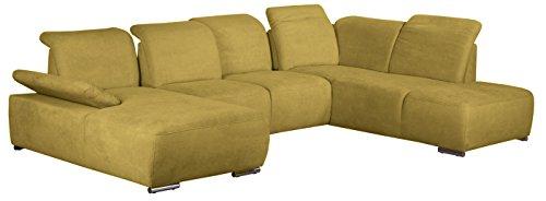 Cavadore Wohnlandschaft Tabagos / U-Form mit Ottomane rechts / XXL Sofa mit Sitztiefenverstellung / Kopfteilverstellung / 364 x 85-96 x 248 (B x H x T) / Farbe: Curry (gelb)