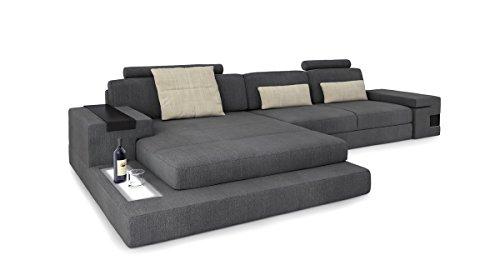 Ecksofa Couch Wohnlandschaft Stoffsofa L-Form grau / creme Eckcouch Designsofa mit LED-Licht Beleuchtung HAMBURG III