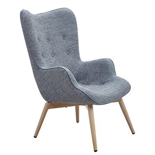 Designer Ohren-Sessel mit Armlehnen aus Webstoff in Grau | Anjo | Club-Sessel im Retro-Design | Gestell aus Holz in Natur | 68 x 41 x 92 cm