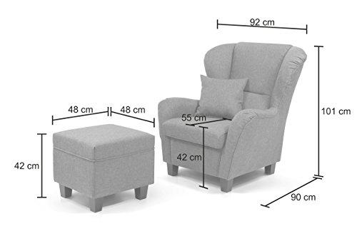 b famous ohrensessel mit hocker chris 92 x 90 cm mikrovelours braun m bel24. Black Bedroom Furniture Sets. Home Design Ideas