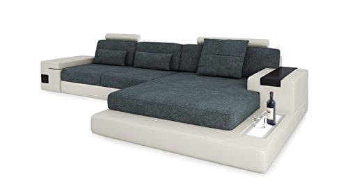 Design Sofa Couch Leder Wohnlandschaft + Stoff Ecksofa L-Form mit LED-Licht Beleuchtung HAMBURG III