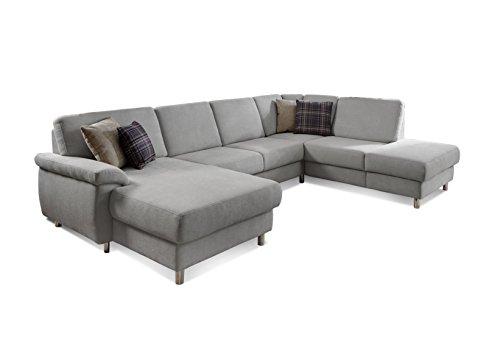 """Federkern Couch """"Winstono"""" / Polsterecke mit Schlaffunktion, Stauraum und Relaxfunktion / Longchair links / Pflegeleichter Bezugsstoff in hellgrau / 317 x 220 x 88 (L x B x H)"""