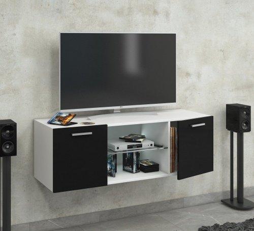 vcm tv schrank lowboard tisch board fernseh sideboard wandschrank wohnwand holz wei schwarz. Black Bedroom Furniture Sets. Home Design Ideas