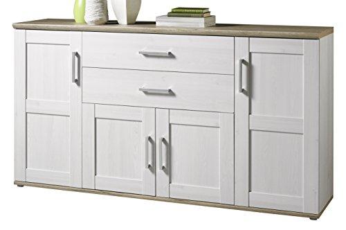 Stella Trading 44-012-D4 Sideboard, Holz, weiß / braun, 46 x 186 x 46 cm