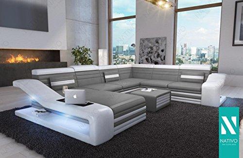 NATIVO©Sofa MIRAGE XXL STOFFSOFA WOHNLANDSCHAFT mit LED Beleuchtung Design Ecksofa Sofa-Garnitur