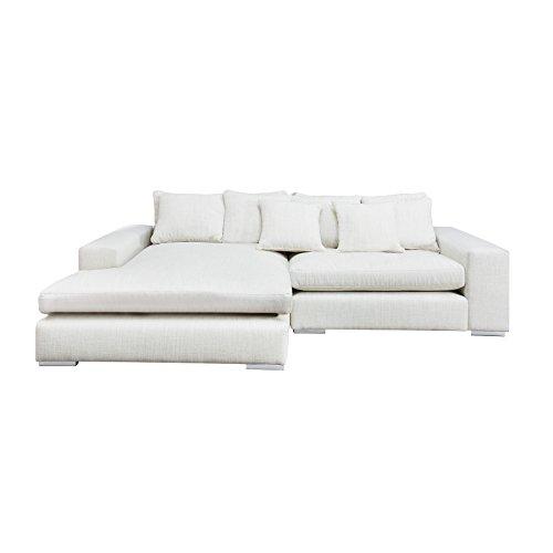 Komfortables Ecksofa MINO im modernen Landhausstil Leinen beige Sofa Couch 275x175 cm inkl. Kissen