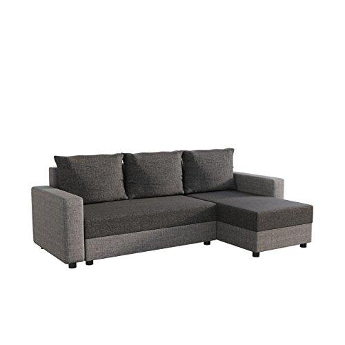 Mirjan24  Ecksofa Vibo! Eckcouch Sofa mit Bettkasten und Schlaffunktion! L-Form Couch, Ottomane Universal, Farbauswahl, Schlafsofa vom Hersteller (Lux 05 + Lux 06)