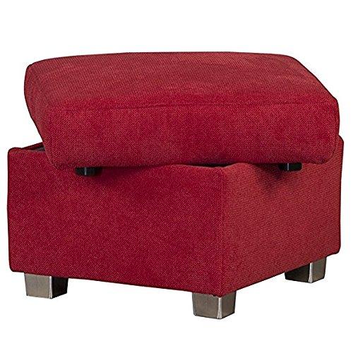 Cavadore Hocker Tuluza mit Stauraum / Sofa-Hocker rot passsend zur Sofagarnitur Tuluza/ Modernes Design / Größe: 58 x 45 x 58 cm (BxHxT) / Rot