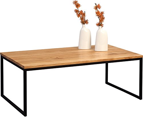HomeTrends4You 264222 Couchtisch, Holz, wildeiche massiv geölt/metall schwarz matt, 110 x 60 x 43 cm