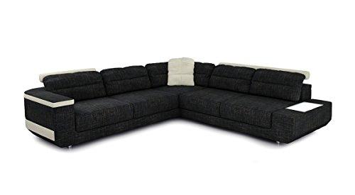 Eckcouch Sofa Couch Stoff Wohnlandschaft modern Design Ecksofa L-Form mit LED-Licht Beleuchtung AVELLINO
