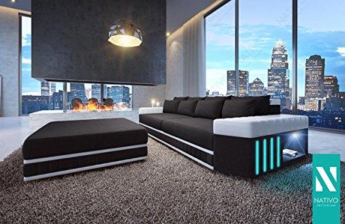 LEDERSOFA BIG SKYLINE MIT LED BELEUCHTUNG NATIVO© Moderne Ledercouch Wohnlandschaft BIG SOFA