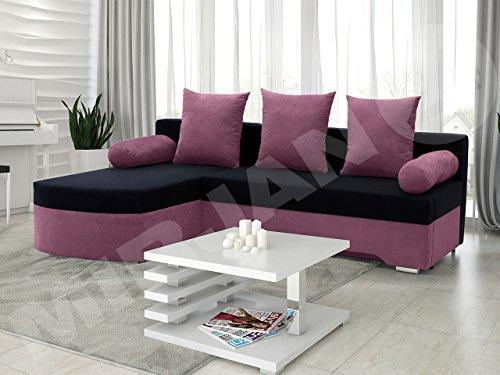 Ecksofa Smart! Sofa Eckcouch Couch! mit Schlaffunktion und Bettkasten! Ottomane Universal, L-Form Couch Schlafsofa Bettsofa Farbauswahl (Alova 23 + Alova 04)