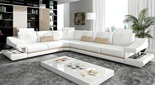 Ledercouch Ecksofa L-Form weiß / ecru beige Eckcouch Wohnlandschaft Leder Sofa Couch mit LED-Licht Beleuchtung Designsofa STUTTGART