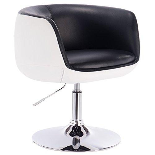 WOLTU® BH42szw-1 1 x Barsessel Loungesessel mit Armlehne Kunstleder 2 farbig Schwarz+Weiss