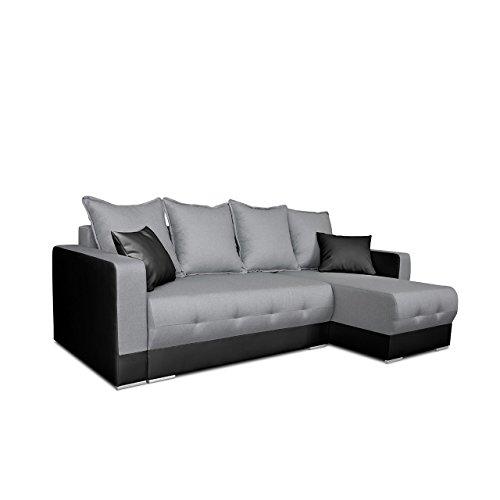 Mirjan24  Ecksofa Spiro! Eckcouch mit Schlaffunktion und Bettkasten! Couch Sofa! Farbauswahl, Ottomane Universal, L-Form Schlafsofa Bettsofa (Soft 011 + Twist 21)