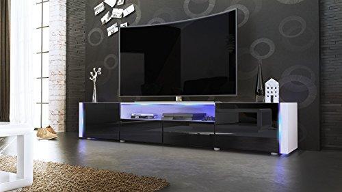 TV Board Lowboard Marino V2 in Weiß / Schwarz Hochglanz