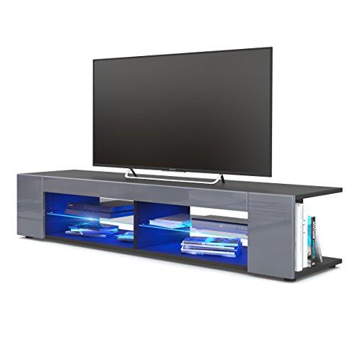 TV Board Lowboard Movie, Korpus in Schwarz matt / Fronten in Grau Hochglanz inkl. LED Beleuchtung in Blau