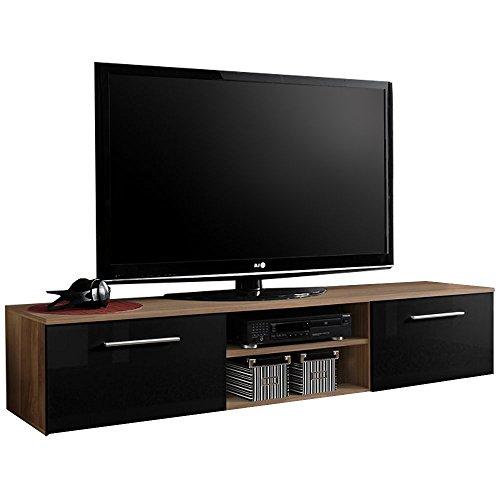 JUSTyou BONI II Lowboard TV-Board Fernsehtisch (HxBxT): 37x180x45 cm Pflaume Matt / Schwarz Hochglanz