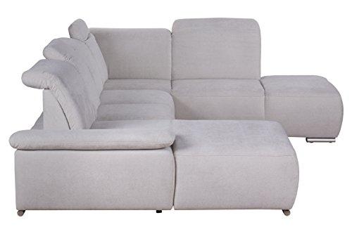 Cavadore Wohnlandschaft Tabagos / U-Form mit Ottomane rechts / XXL Sofa mit Sitztiefenverstellung / Armteilfunktion / 364 x 85 x 248 (B x H x T) / Farbe: Grau/Weiß