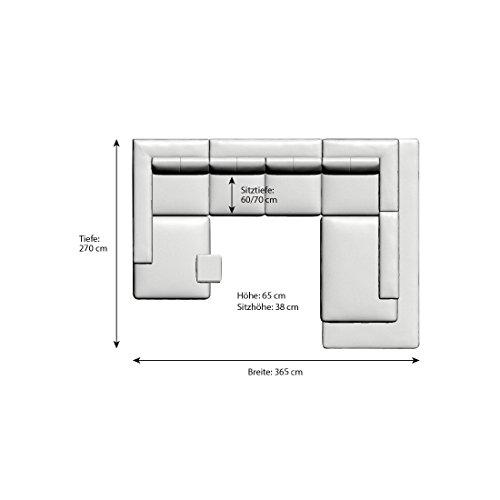 SalesFever Riesige Wohn-Landschaft mit Kunstleder 365x270 cm U-Form grau/weiß | Nilassi | Designer Sofa-Garnitur im XXL Format Ottomane rechts | Polster-Ecke für Wohnzimmer grau/weiss 365cm x 270cm