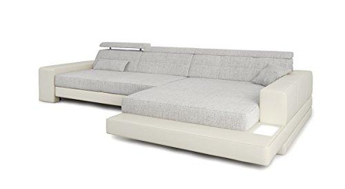 Ecksofa Couch L-Form weiß / grau platin Leder Wohnlandschaft + Stoff Sofa modern Eckcouch Designersofa mit LED-Licht Beleuchtung IMOLA III