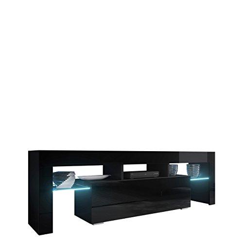 Mirjan24  TV Board Lowboard Toro 138, TV Lowboard mit Grifflose Öffnen, Unterschrank, Sideboard Mediaboard, Fernsehschrank, Mediaboard (mit blauer LED Beleuchtung, Schwarz/Schwarz Hochglanz)