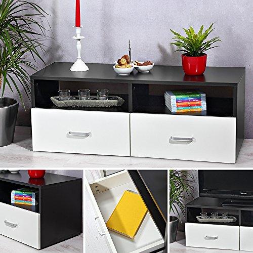 Melko® Fernsehtisch Fernsehschrank Sideboard TV-Board, Schwarz / Weiß, 95 x 35 cm