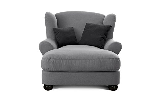 cavadore xxl sessel grauer polstersessel mit kugelholzf en gro er sitzfl che polsterung und 2. Black Bedroom Furniture Sets. Home Design Ideas