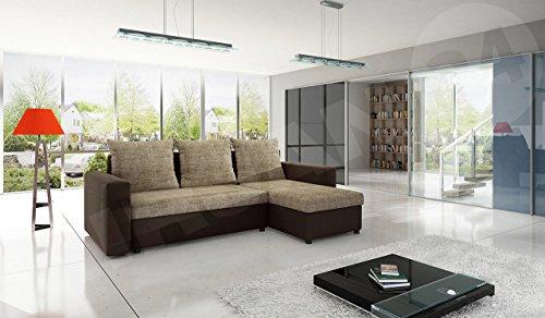 Mirjan24  Ecksofa Top Lux! Sofa Eckcouch Couch! mit Schlaffunktion und zwei Bettkasten! Ottomane Universal, L-Form Couch Schlafsofa Bettsofa Farbauswahl (Soft 066 + Lawa 02)
