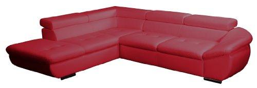 Polsterecke Astra/Ottomane mit Kopfteilverstellung-3er Bett mit Kopfteilverstellung/273x68-84x229 cm/Kunstleder Bison loud red