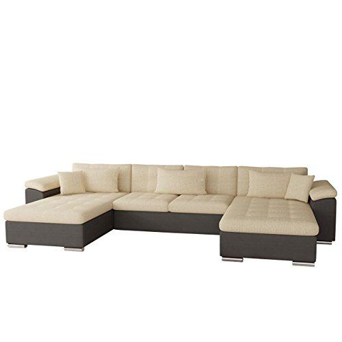 OUTLET !! Ecksofa Wicenza Bis, Eckcouch mit zwei Bettkasten und Schlaffunktion, Bettfunktion, Sofa, Wohnlandschaft, U-Form, Couch vom Hersteller (Soft 024 + Valencia 205)