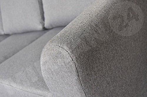 OUTLET !! Sofa Werona III Couch Sofagarnituren Polstersofa Couchgarnitur, Komfortsofa, Wohnzimmer, Stoffsofa, Microfaser, grau (Hugo 96)